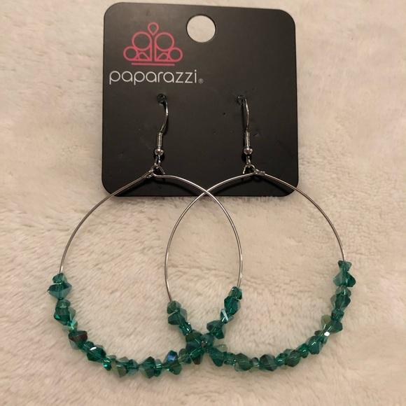 Paparazzi Glimmering go getter green earrings